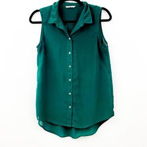 H&M Sheer Green Button up Blouse